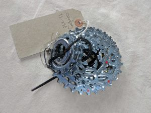 Campagnolo 10 spd cassette showing some ramp positions.