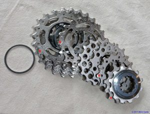 Shimano 10 spd Ultegra road bike cassette which has seven individual sprockets and the three larger ones on an aluminium spline.